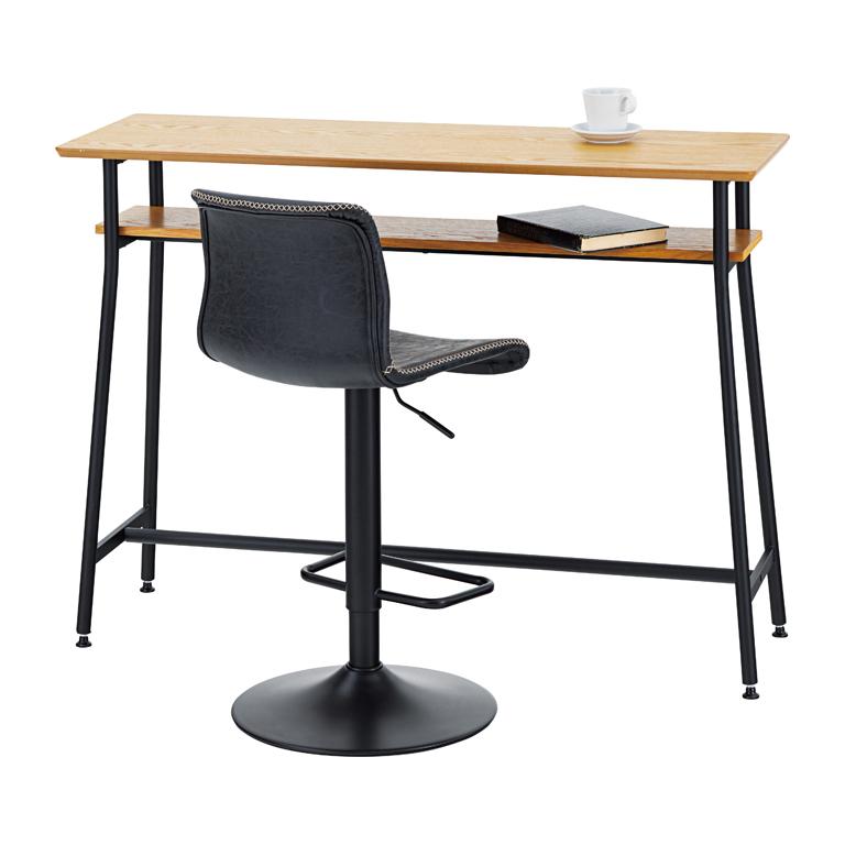こなれた雰囲気のブラックスチール脚カウンターテーブル