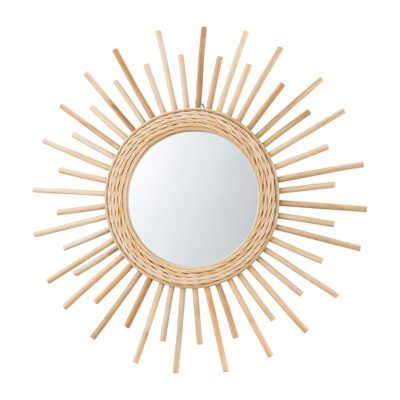 大きめサイズのラタンミラー/太陽デザイン