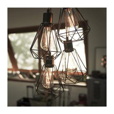 どんなお部屋でも合わせやすいおしゃれな4灯ワイヤーライト/BK