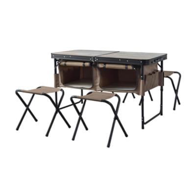 ギアをまるまる収納!アウトドアテーブル&スツールセット/BR
