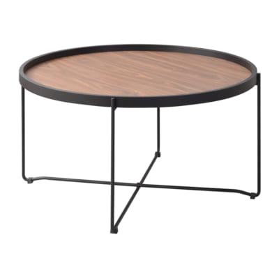 ラウンド型木目トレーテーブル