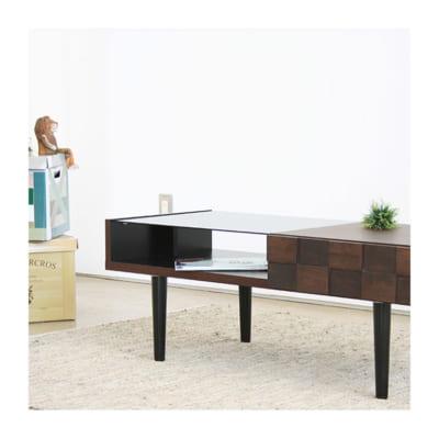 チェッカーボード柄のリビングテーブル(幅110)/BR